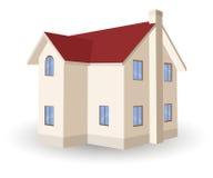 在白色隔绝的传染媒介二层楼的房子 库存例证