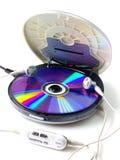 在白色隔绝的便携式的CD的音频球员 免版税库存图片