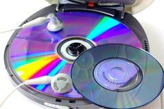 在白色隔绝的便携式的CD的音频球员 图库摄影