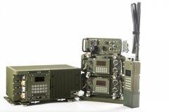 在白色隔绝的军事通信站 库存照片