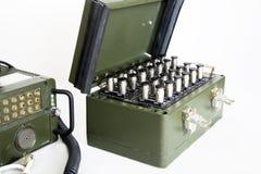 在白色隔绝的军事通信站 图库摄影