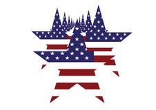 在白色隔绝的军队线的美国国旗星 免版税库存照片