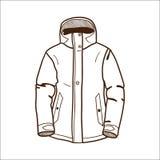 在白色隔绝的冬季体育夹克。 免版税库存照片