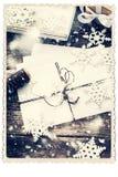 在白色隔绝的减速火箭的卡片 用雪花装饰的信件 库存图片