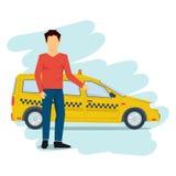 在白色隔绝的出租汽车人 免版税图库摄影