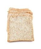 在白色隔绝的切的黑面包,包括的裁减路线 免版税库存图片