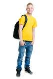 在白色隔绝的十几岁的男孩 免版税库存照片