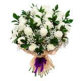 在白色隔绝的华美的白玫瑰花束 库存图片