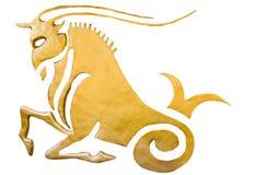 在白色隔绝的占星的山羊座标志 免版税库存图片