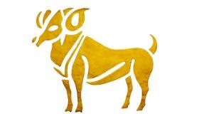 在白色隔绝的占星的白羊星座标志 免版税库存图片
