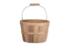 在白色隔绝的古板的木篮子3/4视图 库存照片