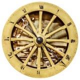 在白色隔绝的古老开放时钟表盘 免版税图库摄影