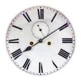 在白色隔绝的古老装饰时钟表盘 免版税库存图片