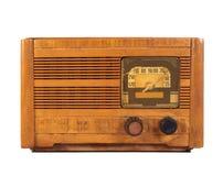 在白色隔绝的古色古香的收音机 图库摄影