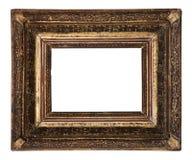 在白色隔绝的古色古香的老画框木陶瓷 库存图片