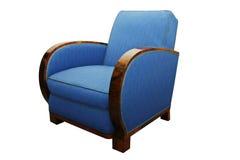 在白色隔绝的古色古香的艺术装饰扶手椅子 库存照片