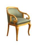 在白色隔绝的古色古香的艺术装饰扶手椅子 免版税库存图片