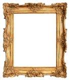 在白色隔绝的古色古香的金黄框架 免版税库存图片