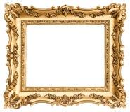 在白色隔绝的古色古香的金黄框架 库存图片