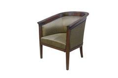在白色隔绝的古色古香的经典扶手椅子 免版税库存照片