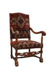在白色隔绝的古色古香的经典扶手椅子 库存图片