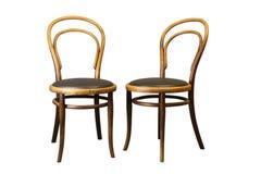 在白色隔绝的古色古香的Bentwood维也纳椅子 免版税库存图片