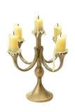 在白色隔绝的古铜色大烛台 免版税库存图片