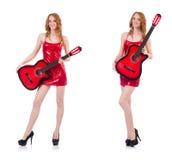 在白色隔绝的吉他演奏员 免版税图库摄影