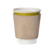 在白色隔绝的咖啡杯特写镜头 免版税库存照片