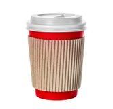 在白色隔绝的咖啡杯特写镜头 免版税图库摄影