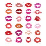 在白色隔绝的唇膏亲吻,嘴唇设置了,设计元素 库存图片