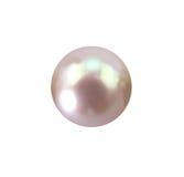 在白色隔绝的唯一发光泽的淡粉红的珍珠 免版税图库摄影