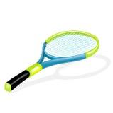 在白色隔绝的唯一网球拍 库存图片