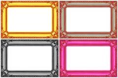 在白色隔绝的四个多色木制框架 免版税库存图片