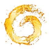 在白色隔绝的圆的橙色水飞溅 免版税库存图片