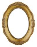 在白色隔绝的圆的金框架 图库摄影