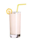 在白色隔绝的圆滑的人香蕉味道健康玻璃 库存图片