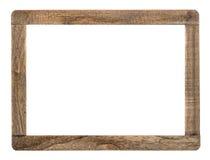在白色隔绝的土气木制框架 免版税库存图片