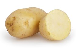 在白色隔绝的土豆 免版税库存照片