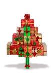 在白色隔绝的圣诞节礼物树 免版税库存照片