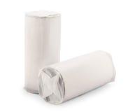 在白色隔绝的塑料包裹 免版税图库摄影