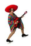 在白色隔绝的墨西哥吉他演奏员 库存照片