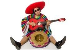 在白色隔绝的墨西哥吉他演奏员 库存图片