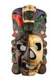 在白色隔绝的墨西哥玛雅阿兹台克陶瓷被绘的面具 免版税库存图片