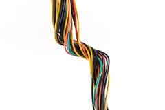 在白色隔绝的多彩多姿的计算机缆绳 图库摄影