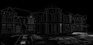 在白色隔绝的大厦 实际概念的庄园 3d 库存例证