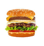 在白色隔绝的大鲜美乳酪汉堡 免版税库存图片