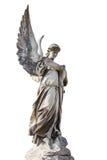 在白色隔绝的天使的雕象 免版税库存图片