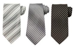 在白色隔绝的套三条领带 库存图片