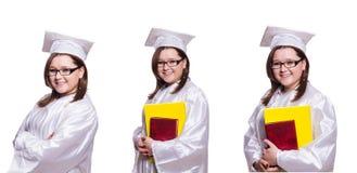 在白色隔绝的女学生 免版税库存图片